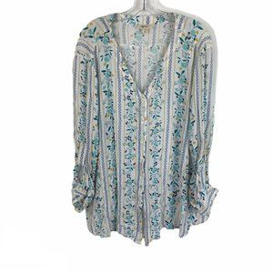 Style & Co Boho Floral Printed V Neck Tunic XL
